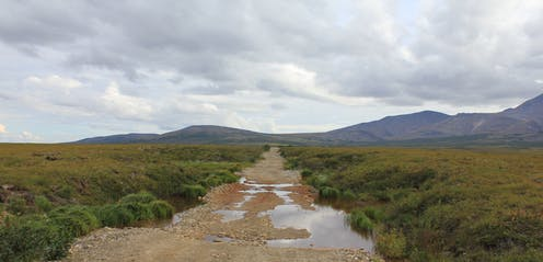 A road with puddles and clouds in the arctic tundra