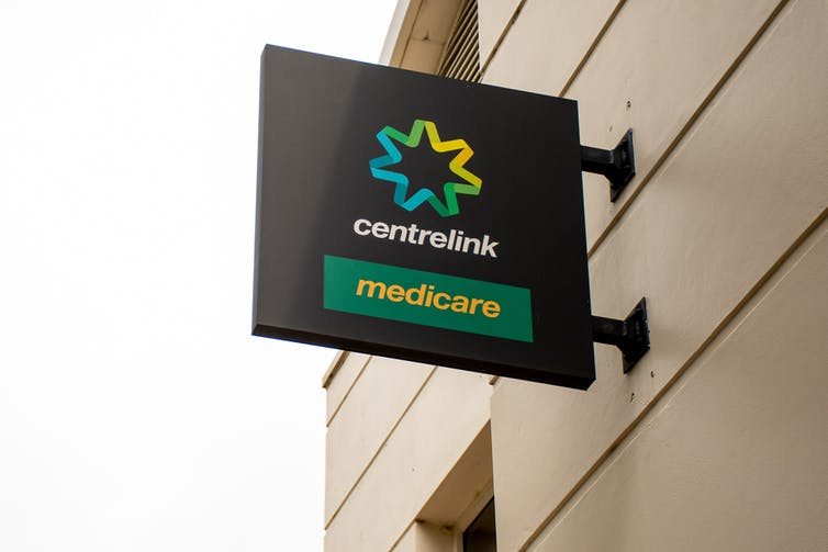 A sign for Centrelink and Medicare