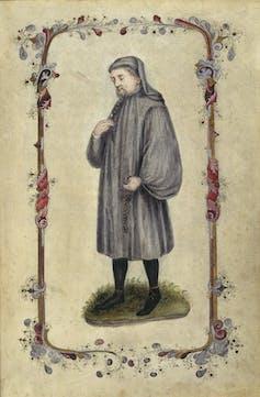Geoffrey Chaucer tel que représenté dans Les Contes de Canterbury