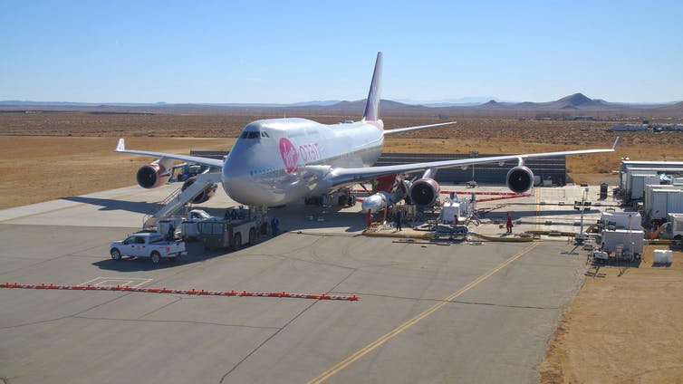 Virgin Orbit's plane on a runway.