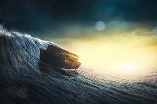 An illustration of Noah's Ark riding a huge wave.