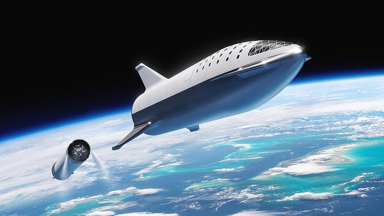Artist's impression of BFR separating from Starship.