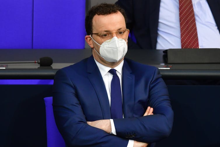 German health minister Jens Spahn, wearing a COVID mask.