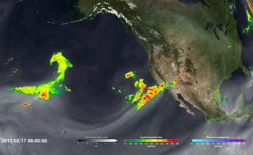 Satellite image showing moisture traveling across the Pacific