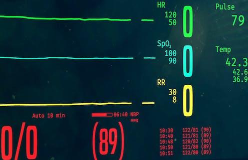 A vital signs monitor reading zero