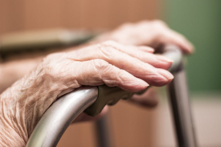 Elderly woman's hands on a walking frame