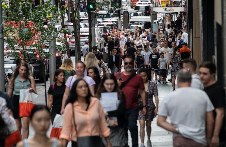 Crowds in street in Melbourne CBD.
