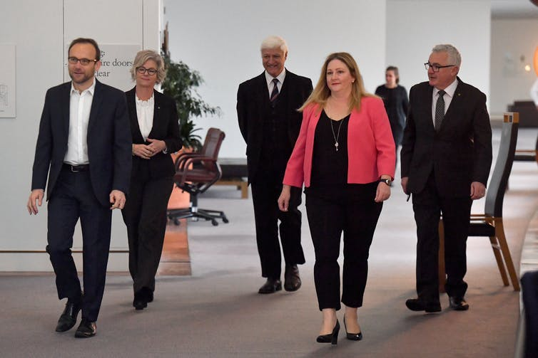 The lower house crossbench arrive for a press conference in June 2020.