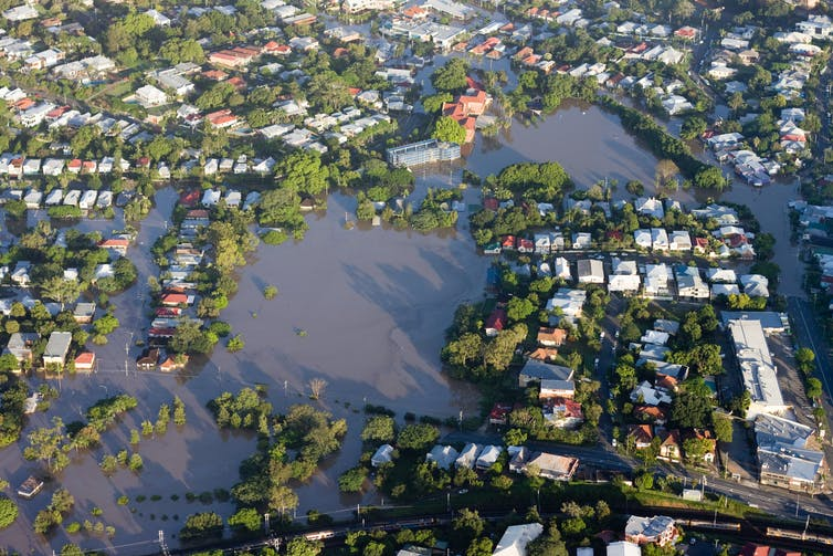 Floodwaters collect in a Brisbane suburb.