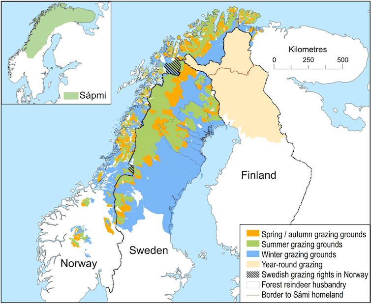 A map depicting the different seasonal grazing grounds for reindeer in Scandinavia.