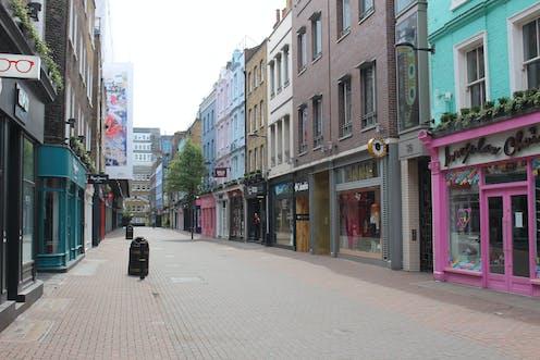 Empty high street in London