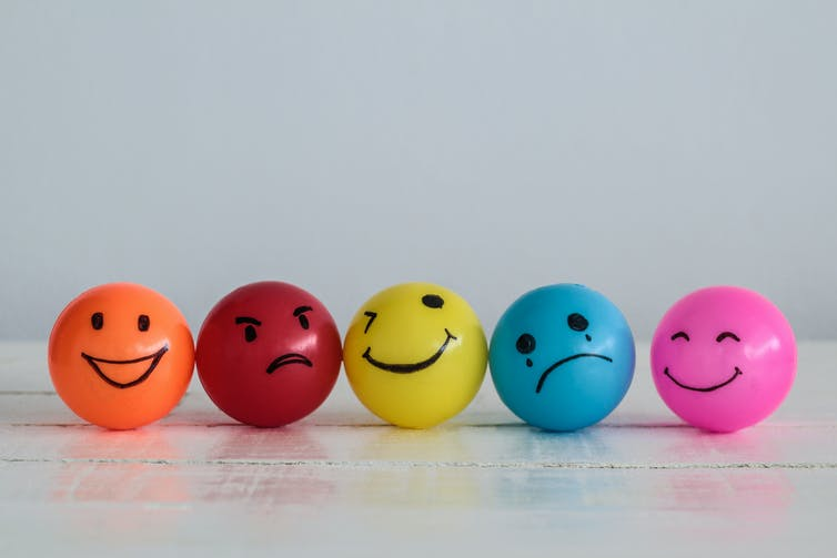 Emotions drawn on a line of balls.