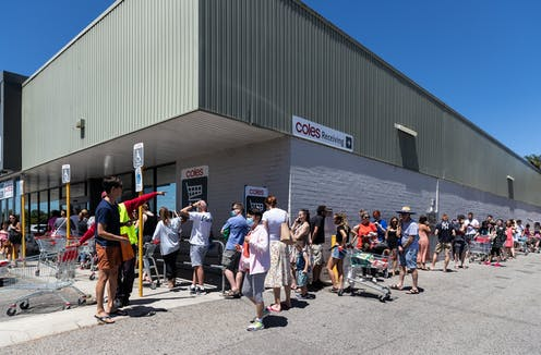 A queue outside Coles in the Perth suburb of Maylands, one of the potential COVID exposure sites, on Sunday, January 31, 2021.