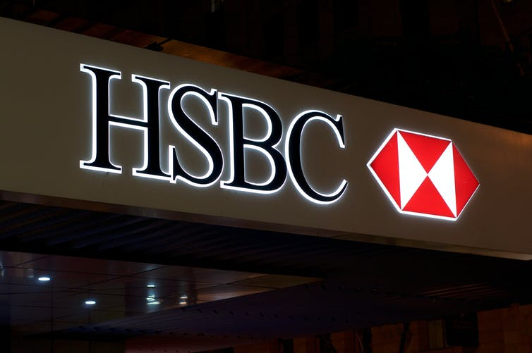 HSBC sign lit at night