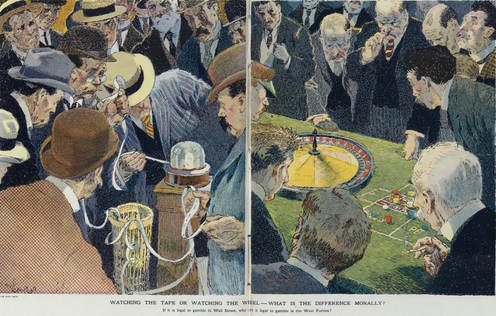 Illustration shows a two panel cartoon, on the left, anxious businessmen are gathered around a ticker tape machine, reading the ticker tape; and on the right, anxious gamblers are gathered around a roulette wheel, awaiting the outcome.