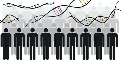 Illustration of DNA chains and a group of people.