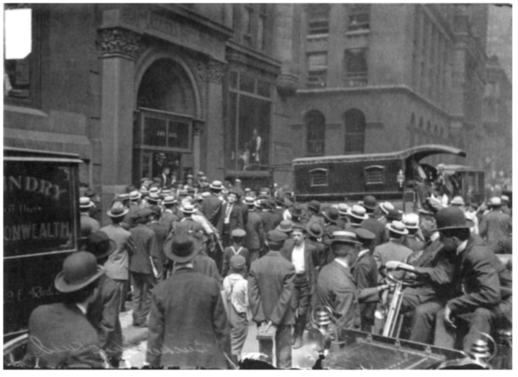 Image of a crowd outside the Mallers Building