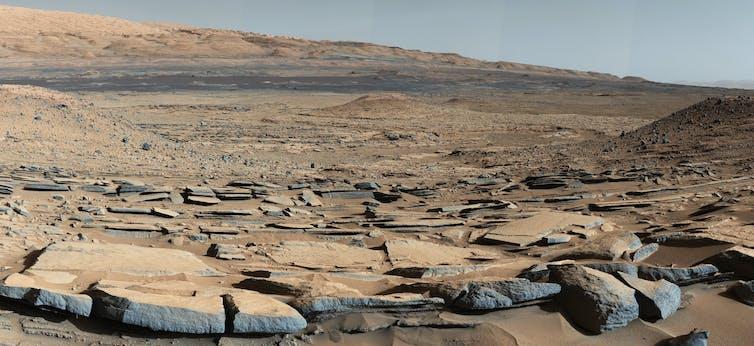 A Martian rocky landscape.