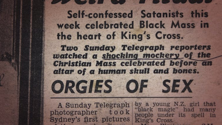Newspaper reads: self-confessed Satanists this week celebrated Black Mass in the heart of Kings Cross.