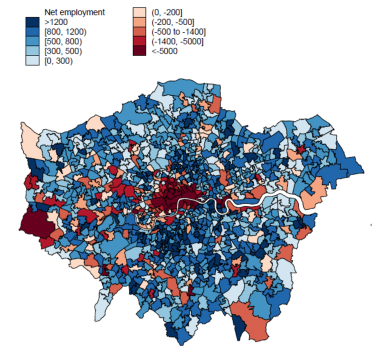 Gráfico que muestra qué áreas del Gran Londres ganarán y perderán con el trabajo remoto, explicado en el párrafo anterior.