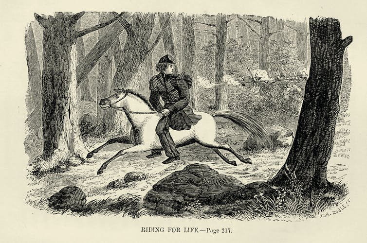Engraving of a person riding a horse through trees