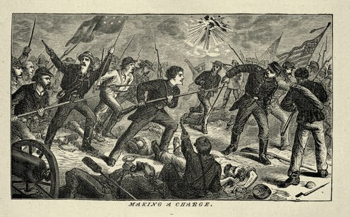 Engraving of a 19th century American civil war war scene