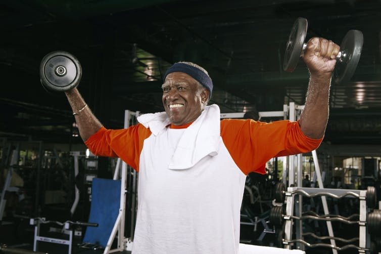A man lifting weights.