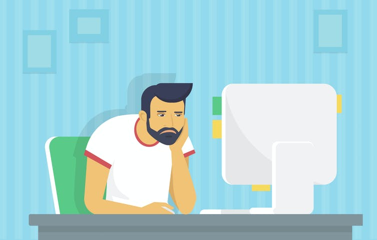 An illustration of a bored man staring at a screen.