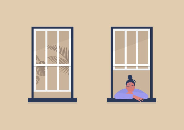 illustration of a bored woman leaning out of a window.
