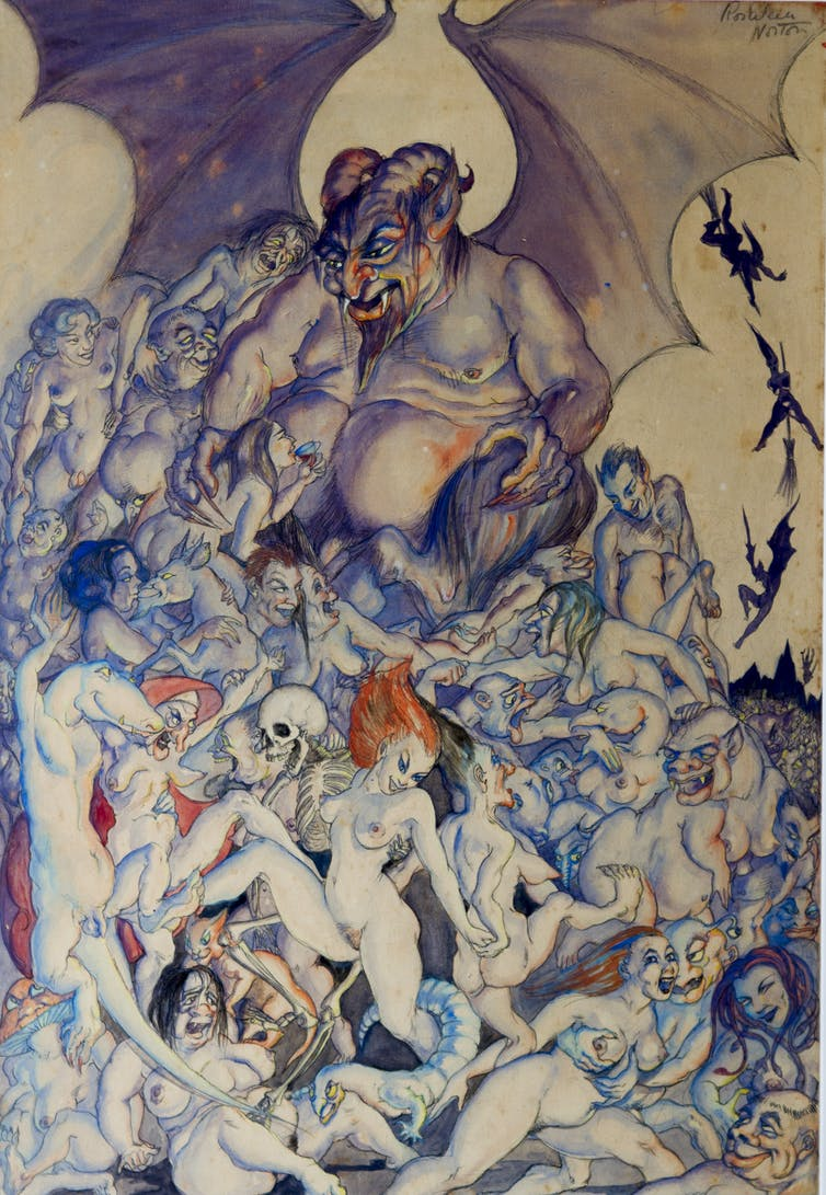 A colour drawing. A fat male god with bat wings sits over a writhing mass of naked bodies.