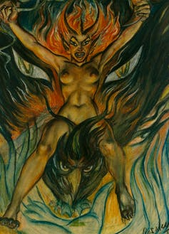 A naked woman with hair of flames rides a firebird.