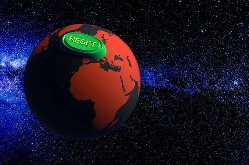 Image of Earth with 'RESET' button on it