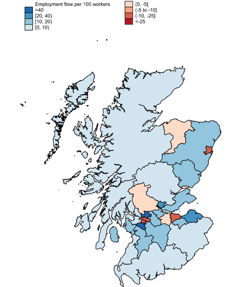 Chart showing which areas in Scotland will win and lose from remote working