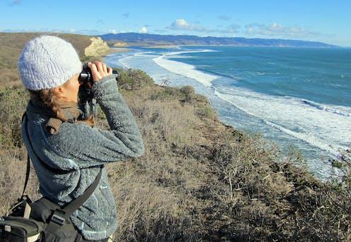 Woman with binoculars on seaside cliff