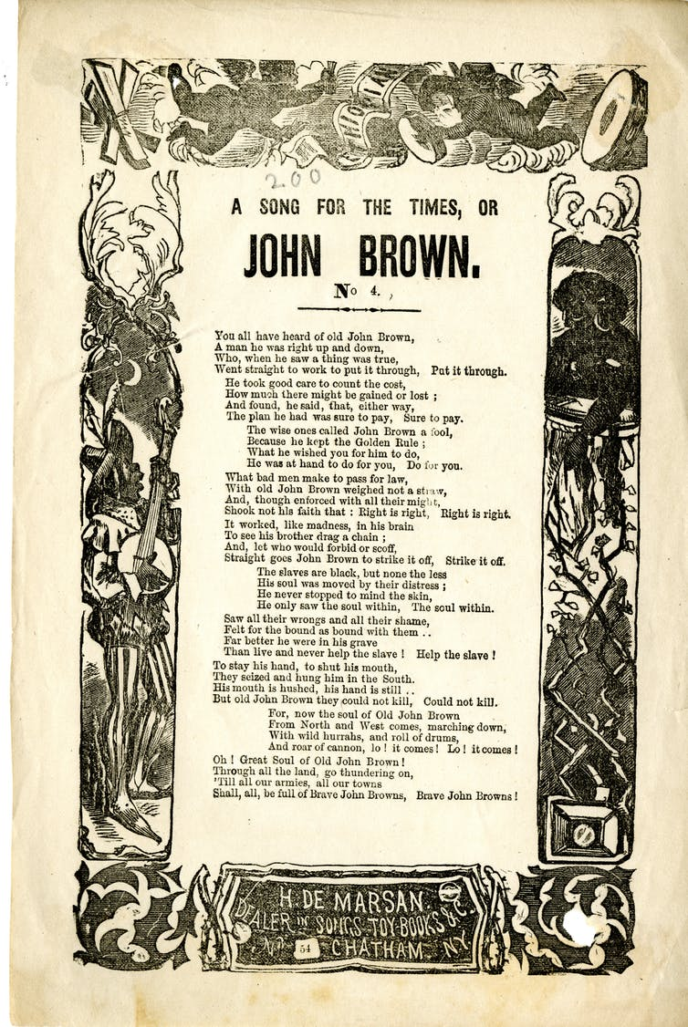A Civil War broadside featuring a song about John Brown.