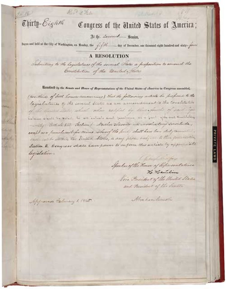 The House joint resolution in favor of the 13th Amendment, which abolished slavery.