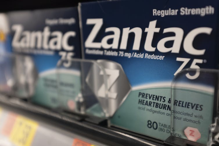The drug Zantac on a drug store shelf.