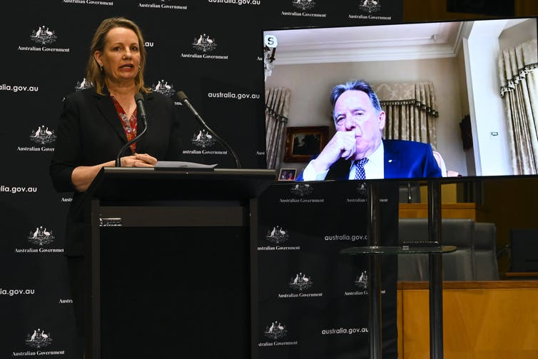 Sussan Ley behind a podium and Professor Graeme Samuel on screen behind her