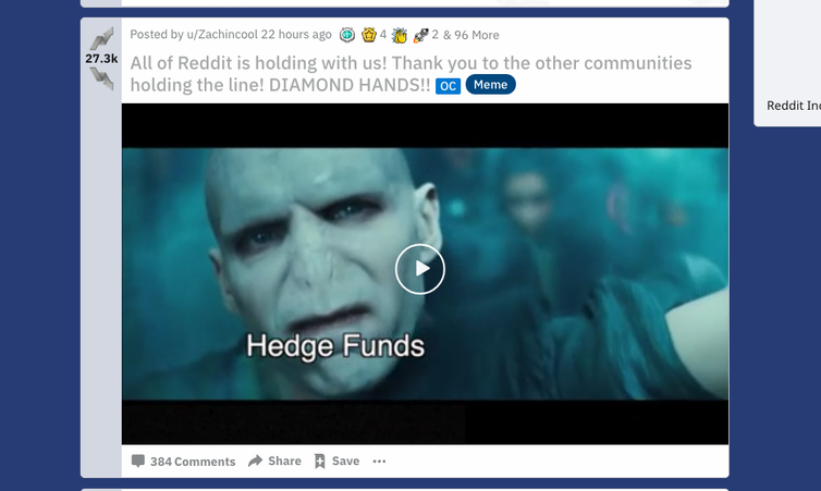 A Reddit post equating hedge funds to Lord Voldemort