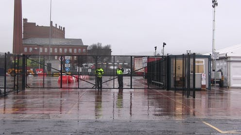 Border Force officers at a checking facility near Belfast Port.