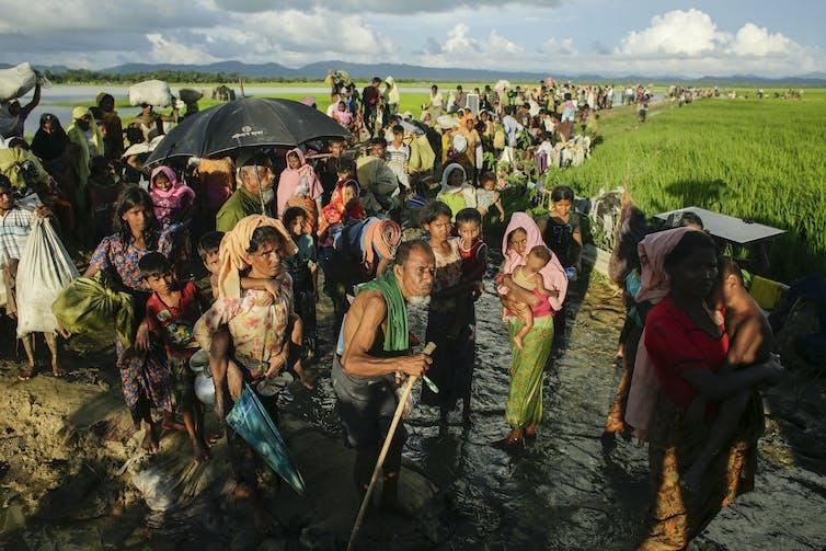 A large queue of refugee families follow a river through fields.