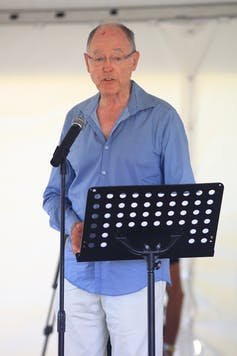 Don Brash speaking with microphone