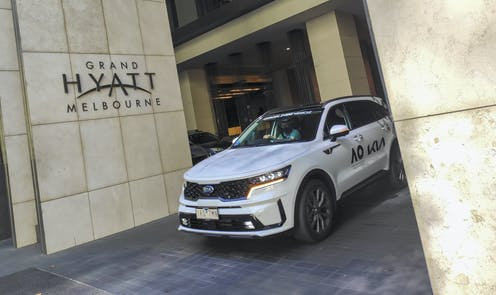 An Australian Open care outside the Grand Hyatt Hotel in Melbourne