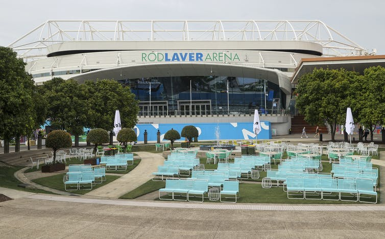 Empty seating outside Rod Laver Arena at the Australian Open in Melbourne