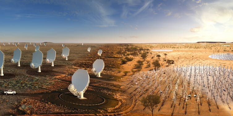 Artist's impression of the SKA: on the left multiple dishes scattered around representing SKA_MID and on the right a large collection of antennas representing SKA_LOW.