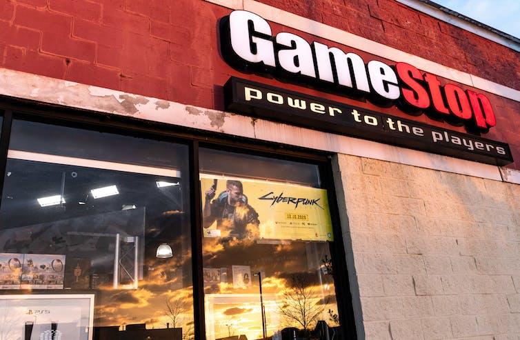 Gamestop logo on a building