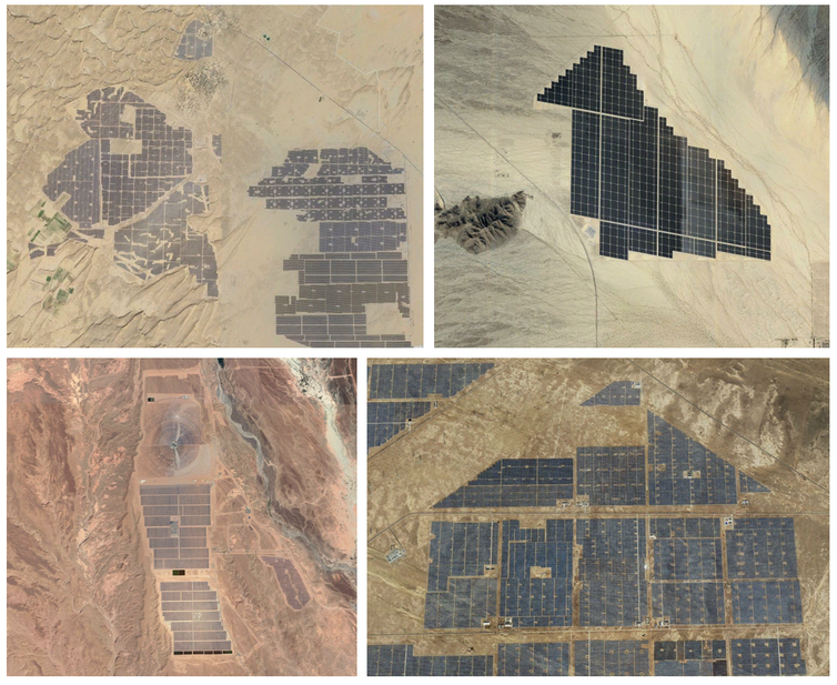 A satellite view of four different solar farms in deserts.