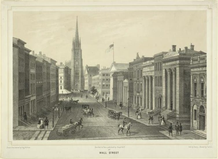 Black-and-white lithograph of a wide street lined with large buildings