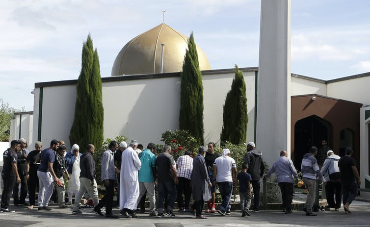 Worshippers outside the Al Noor mosque in Christchurch.