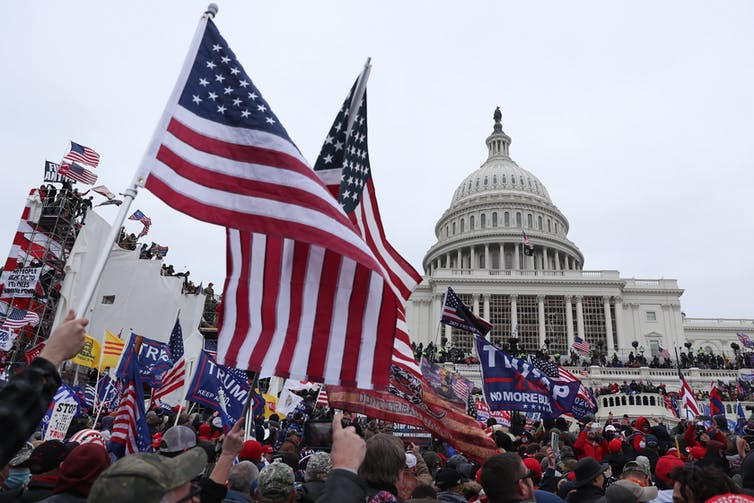 Rioters storm the US Capitol in January 2021.